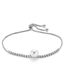 Fashion Silver Color Pearls&diamond Decorated Bracelet