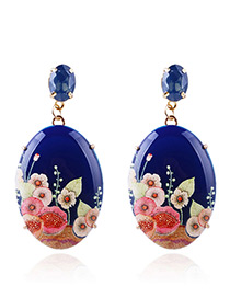 Vintage Sapphire Blue Flowers Pattern Decorated Earrings