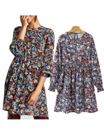 Fashion Multi-color Flowers Pattern Design Long Sleeves Dress