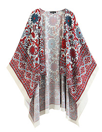 Fashion Red Flower Pattern Decorated Shawl