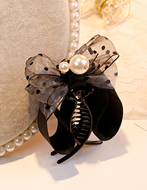 Sweet Gray Bowknot&pearls Decorated Hair Claw