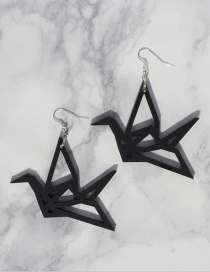 Fashion Black Paper Cranes Decorated Earrings
