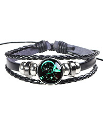 Fashion Black+green Sagittarius Pattern Decorated Noctilucent Bracelet