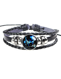 Fashion Black+blue Pisces Pattern Decorated Noctilucent Bracelet
