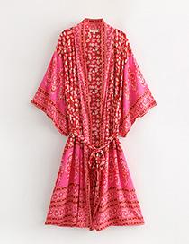 Fashion Red Flower Pattern Decorated Kimono