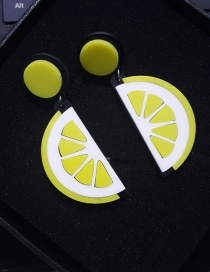 Fashion Yellow Lemon Shape Design Simple Earrings