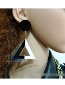 Fashion Black+white Triangle Shape Design Hollow Out Earrings
