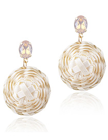 Fashion Light Yellow Round Shape Decorated Earrings