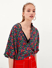 Fashion Multi-color Cherry Pattern Decorated Blouse