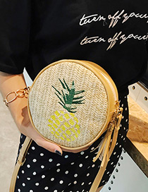 Fashion Khaki Pineapple Pattern Decorated Bag