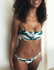 Sexy Green Leaf Pattern Decorated Swimwear(2pcs)