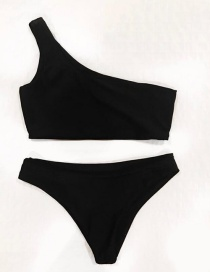 Sexy Black Pure Color Decorated Swimwear(2pcs)
