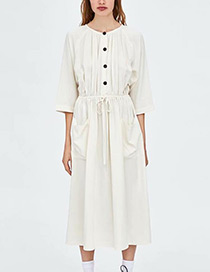 Fashion White Pure Color Decorated Long Sleeves Dress