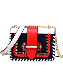 Fashion Red+black Rivet Decorated Bag