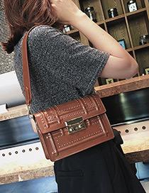 Fashion Brown Rivet Decorated Bag