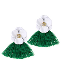 Fashion White+green Flower Shape Decorated Tassel Earrings