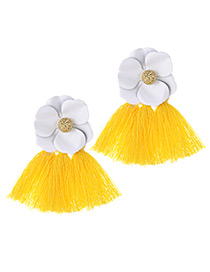 Fashion White+yellow Flower Shape Decorated Tassel Earrings