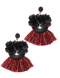 Fashion Black+claret Red Flower Shape Decorated Tassel Earrings