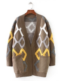Fashion Khaki Geometric Pattern Decorated Sweater