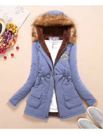 Fashion Light Blue Pure Color Decorated Coat