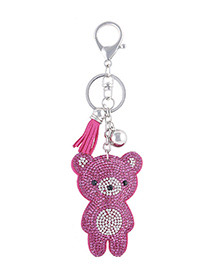 Fashion Plum Red Bear Shape Decorated Keychain