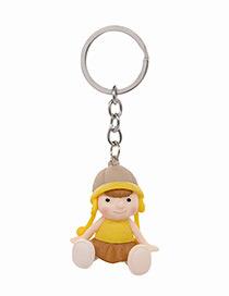 Fashion Yellow Doll Shape Decorated Keychain