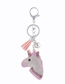 Fashion Pink Horse Shape Decorated Keychain