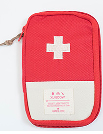 Fashion Red+white Color-matching Decorated Storage Bag