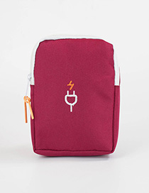 Fashion Claret Red Color-matching Decorated Storage Bag