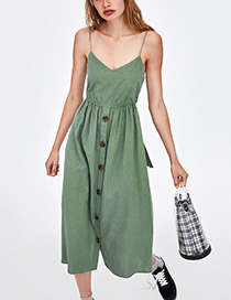 Fashion Green Pure Color Decorated Suspender Dress