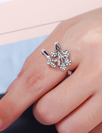 Fashion Silver Color Diamond Decorated Opening Ring
