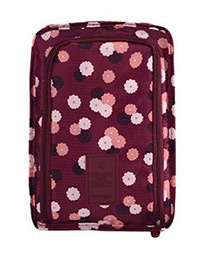 Fashion Claret Red Flower Pattern Decorated Storage Bag