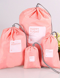 Fashion Pink Letter Pattern Decorated Storage Bag(4pcs)