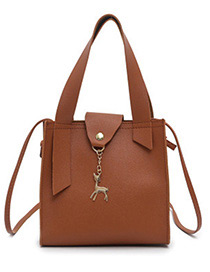 Fashion Brown Deer Shape Decorated Handbag