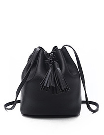 Fashion Black Tassel Decorated Pure Color Shoulder Bag