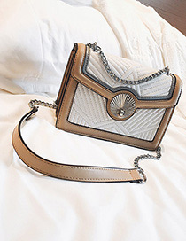 Fashion Khaki Color Matching Decorated Shoulder Bag