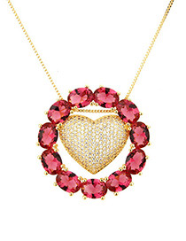 Fashion Red+gold Color Heart Shape Decorated Necklace