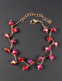 Fashion Red Bead Decorated Pure Color Bracelet