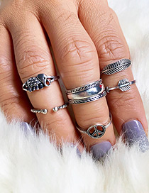 Fashion Silver Color Elephant Shape Decorated Ring Set