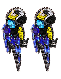 Fashion Blue Parrot Shape Design Bead Earrings