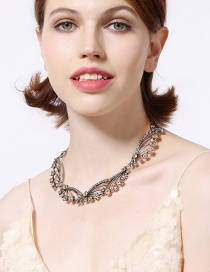 Fashion Silver Color Full Diamond Design Hollow Out Necklace