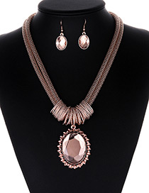 Fashion Pink Round Shape Gemstone Decorated Jewelry Sets