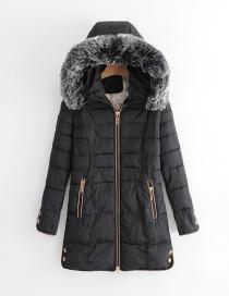 Elegant Black Zippers Decorated Pure Color Coat