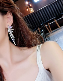Fashion White Full Diamond Decorated Tassel Earrings