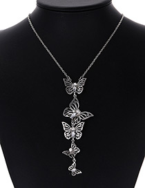 Fashion Silver Color Butterfly Decorated Pure Color Necklace