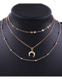 Fashion Gold Color Moon Shape Decorated Multi-layer Necklace
