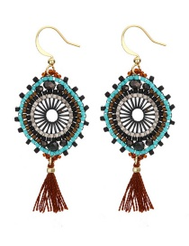 Fashion Claret Red Geometric Shape Decorated Tassel Earrings