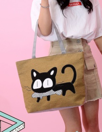 Fashion Khaki Cat Pattern Decorated Bag