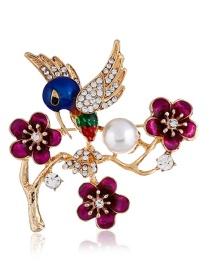 Fashion Multi-color Bird Shape Decorated Brooch