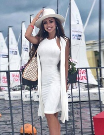 Fashion White Backless Design Pure Color Dress